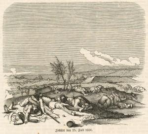 Motiv fra Treårskrigen efter Slaget ved Isted i 1850 Anonymt træsnit. Museum Sønderjylland - Sønderborg Slot