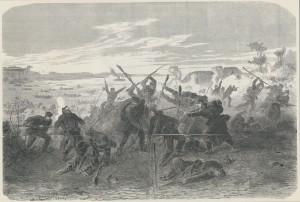Erobringen af Als den 29. juni 1864 Anonymt træsnit. Museum Sønderjylland - Sønderborg Slot
