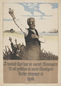 Dansksproget, tysk afstemningsplakat fra 1920 Tegning: Alex Eckener. Museum Sønderjylland - Sønderborg Slot