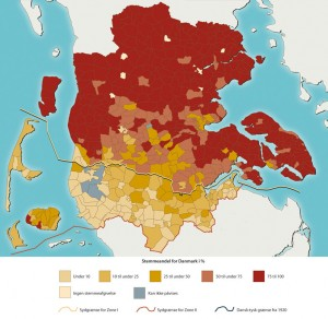 Den danske stemmeprocent ved afstemningerne i Zone I og II i 1920 Kort: Jørgen Andersen, Museum Sønderjylland - Arkæologi Haderslev