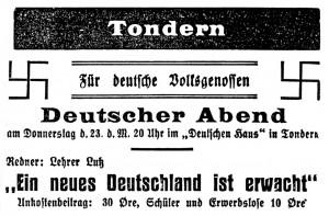 Nazistisk annonce fra det tyske mindretal, Tønder i 1933 Museum Sønderjylland - ISL. Scanning: do.