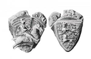 Hertug Erik Abelssøns segl med det sønderjyske våbenskjold Scanning fra: A. Thiset: Danske kongelige Sigiller, 1917