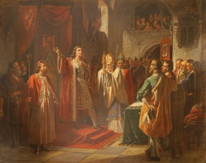 Christian 1. aflægger ed på at overholde Ribebrevet. Maleri af August Thomsen 1865. Museum Sønderjylland -  Sønderborg Slot. Foto sammesteds.