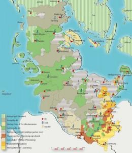 Kort over Slesvig og Holsten efter delingen af Hans den Yngres områder mellem hans arvinger i 1622 Tegning: Jørgen Andersen, Museum Sønderjylland - Arkæologi Haderslev