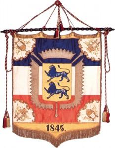 Fane syet af de augustenborgske prinsesser til slesvig-holstenske deltagere i den tyske sangerfest i Würzburg i 1845 Fane fra: Landesarchiv Schleswig-Holstein. Foto: Museum Sønderjylland - Sønderborg Slot.